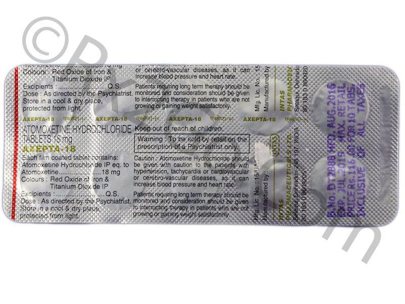 Atomoxetine hcl 18mg (Axepta-18)